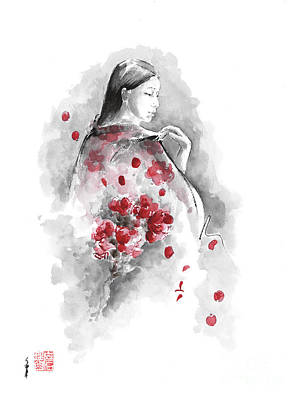 Geisha Painting - Geisha - Cherry Blossom. by Mariusz Szmerdt