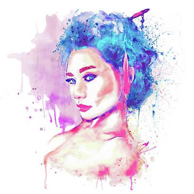 Digital Watercolor Digital Art - Geisha Girl by Marian Voicu
