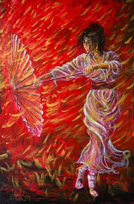 Manga Painting - Geisha - Rain Dance 02 by Nik Helbig