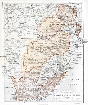 South Africa Drawing - General Map Of British South Africa by Vintage Design Pics