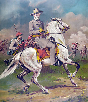 Horseback Painting - General Robert E Lee by American School
