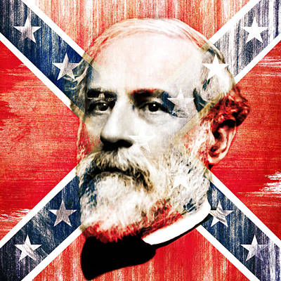 Stonewall Painting - General Robert Lee And The Confederate Flag - By Diana Van by Diana Van