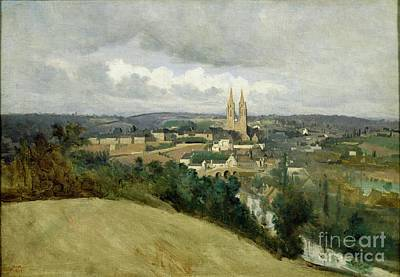 General View Of The Town Of Saint Lo Print by Jean Corot