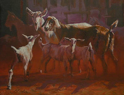 Saanen Goat Painting - Generations by Mia DeLode