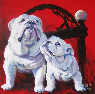 English Bulldog Painting - Generations Of Uga by Pat Burns