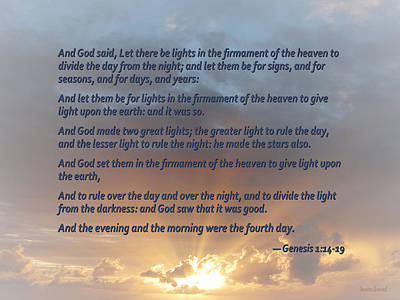 Religion Photograph - Genesis 1 14-19 ... Let There Be Lights In The Firmament Of The Heaven by Susan Savad