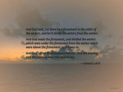 Genesis 1 6-8 Let There Be A Firmament In The Midst Of The Waters Print by Susan Savad
