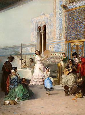 Seville Painting - Genre Scene At The Alcazar Of Seville by Mountain Dreams