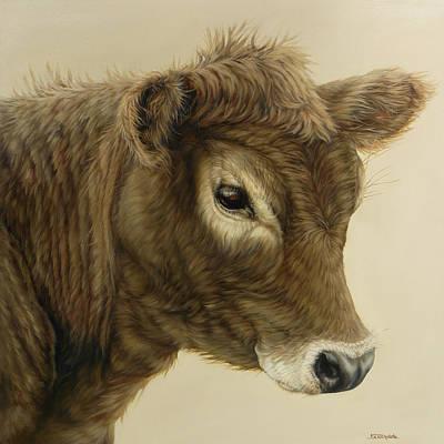 Gentle Swiss Calf Print by Margaret Stockdale