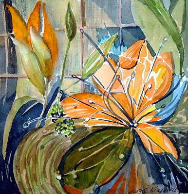 Lilies Mixed Media - Geo Day Lilies by Mindy Newman