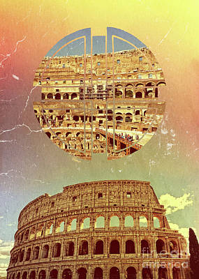 Map Of Italy Digital Art - Geometric Colosseum Rome Italy Historical Monument by Beverly Claire Kaiya