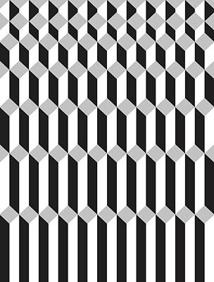Berlin Drawing - Geometric Cube Illusion 1 by Francisco Valle