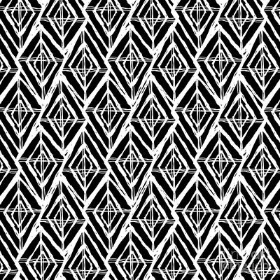 Damask Drawing - Geometric Diamond Pattern In Black And White by Stephanie Troutner