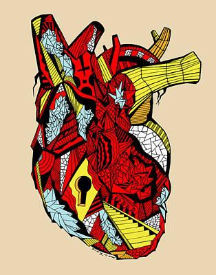 Geometric Heart Print by Kenal Louis