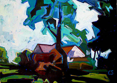 High Key Painting - Geometric Landscape 1 by Charlie Spear