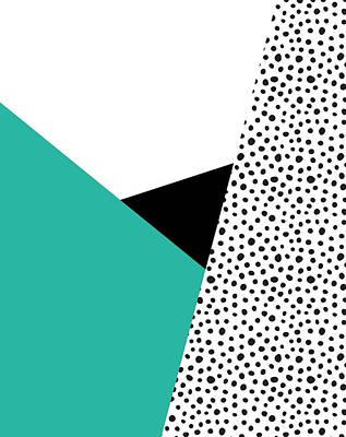 Geometric Modern Triangles With Spots Print by Rachel Follett