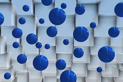 Sphere Digital Art - Geometric Scene With Blue Balls by Alberto  RuiZ