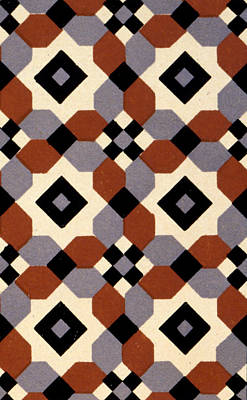 Geometric Textile Design Print by English School