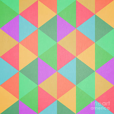 Geometric Digital Art - Geometric Triangles Abstract Square by Edward Fielding