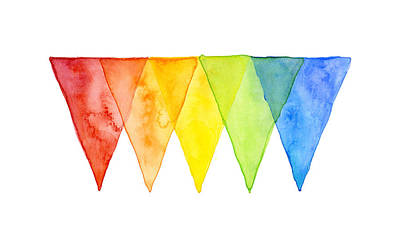 Geometric Watercolor Pattern Rainbow Triangles Print by Olga Shvartsur