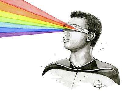 Science Fiction Painting - Geordi Sees The Rainbow by Olga Shvartsur