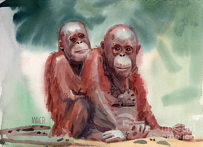 Orangutan Painting - George And Gracy by Donald Maier