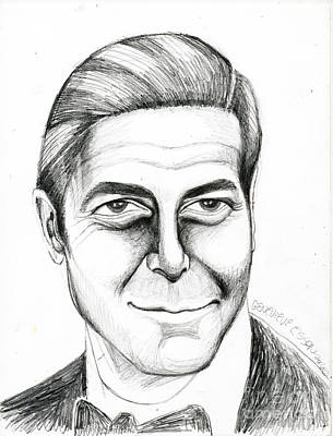 Buy Tshirts Drawing - George Clooney by Genevieve Esson