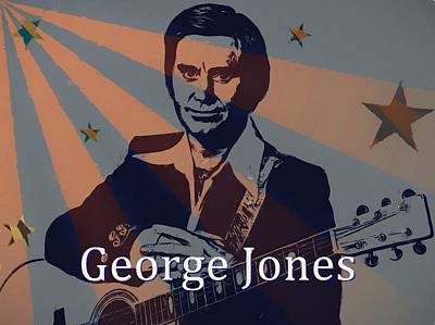 Red White And Blue Mixed Media - George Jones Poster by Dan Sproul