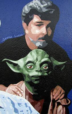 George Lucas With Yoda Original by Roberto Valdes Sanchez