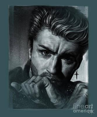 Digitalart Drawing - George Michael by Andre Koekemoer