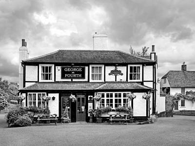 George The Fourth Pub In Black And White Print by Gill Billington