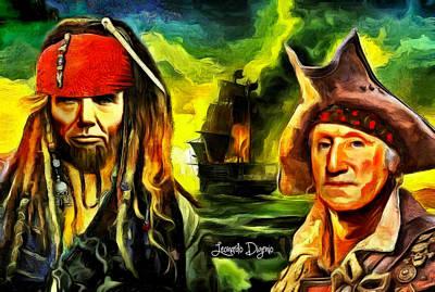 Civil Digital Art - George Washington And Abraham Lincoln The Pirates - Da by Leonardo Digenio
