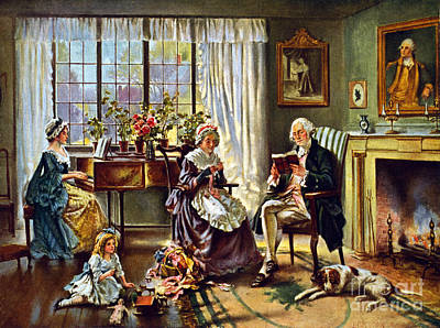 George Washington And Family Print by Science Source