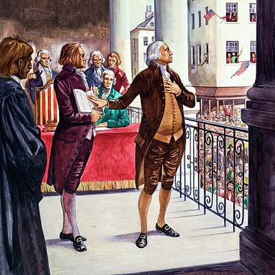 Taking Oath Painting - George Washington Being Sworn In As President Of The United States by Peter Jackson