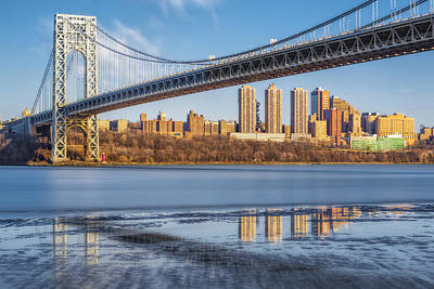 Little Red River Photograph - George Washington Bridge Nyc Reflections by Susan Candelario