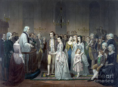 George Washington Weds Martha Custis Print by Science Source