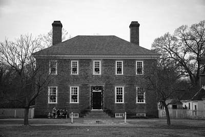 George Wythe House Williamsburg B W 2014 Print by Teresa Mucha