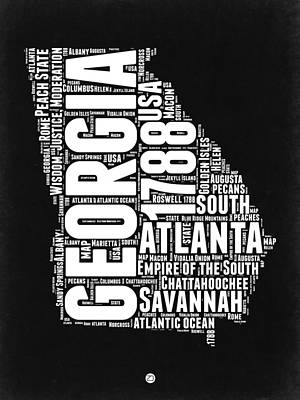 Savannah Digital Art - Georgia Black And White Word Cloud Map by Naxart Studio