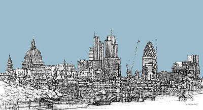 London Skyline Mixed Media - Georgian Blue Skies Over London City Skyline by Adendorff Design