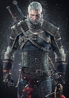 Slash Digital Art - Geralt Of Rivia - Witcher  by Taylan Soyturk