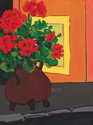 Pompons Painting - Geraniums In Saint-pompon by Sarah Gillard