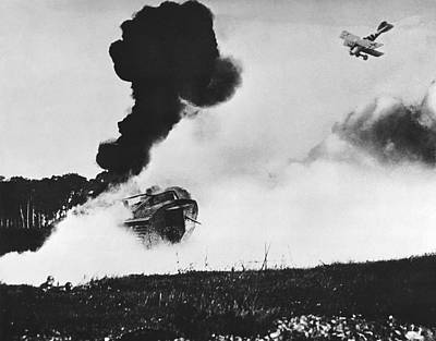 German Biplane Attacks Tank Print by Underwood Archives