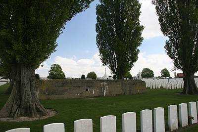 Print featuring the photograph German Bunker At Tyne Cot Cemetery by Travel Pics