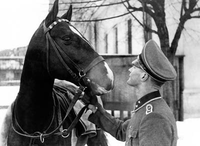 Ww2 Photograph - German Elite Soldier With His Horse by Charles Meagher