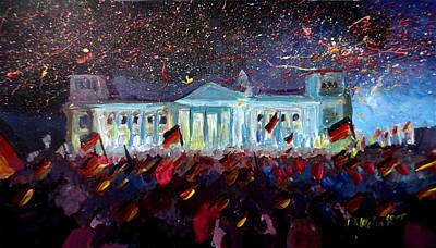 Berlin Germany Painting - German Reunification Party In Berlin With Firework by M Bleichner