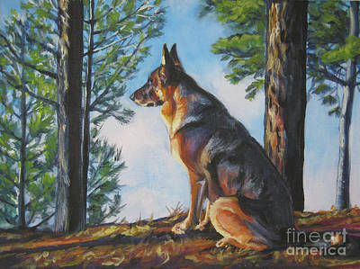 Puppies Painting - German Shepherd Lookout by Lee Ann Shepard