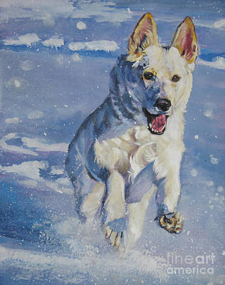 German Shepherd White In Snow Print by Lee Ann Shepard