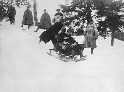 German Soldiers Sledding Print by Underwood Archives
