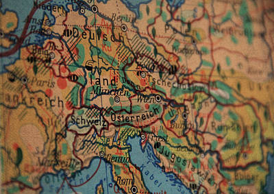 German Vintage Map Of Central Europe From Old Globe Print by Design Turnpike