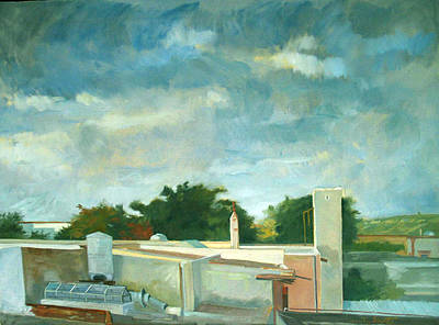 Turbulent Skies Painting - Germantown Rooftops by Zois Shuttie